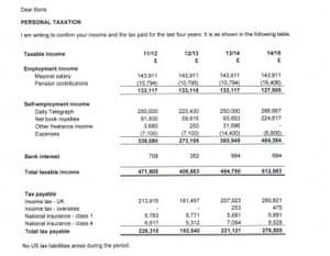 Boris Johnson's tax details
