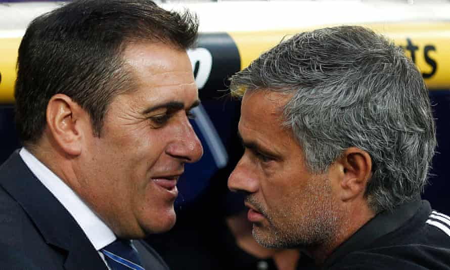 José Ramón Sandoval with José Mourinho in September 2011, when the Portuguese's Real Madrid side hosted Sandoval's newly promoted Rayo Vallecano