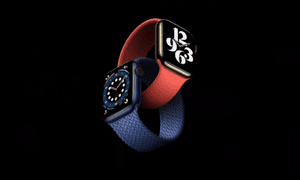 The new Series 6 with new silicone bands.