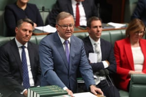 Opposition leader Anthony Albanese during condolence motions for the late Tim Fischer