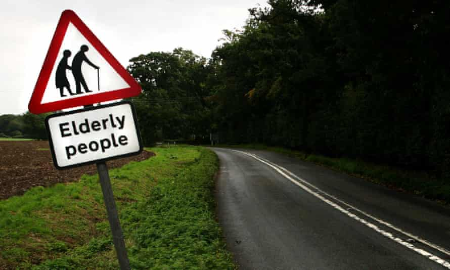Sign warning about old people on a rural road in Suffolk