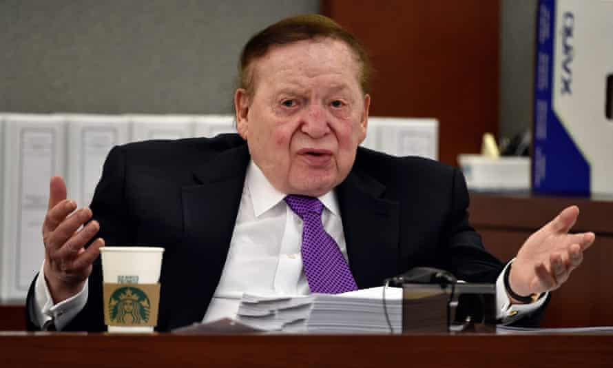 Sheldon Adelson, the new owner of the Las Vegas Review-Journal, testifies during a wrongful termination case relating to his casino business in May 2015 in Las Vegas.
