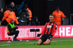 Bournemouth's Junior Stanislas of celebrates scoring the second and winning goal from a free kick to beat West Bromwich Albion 2-1 at the Vitality Stadium.