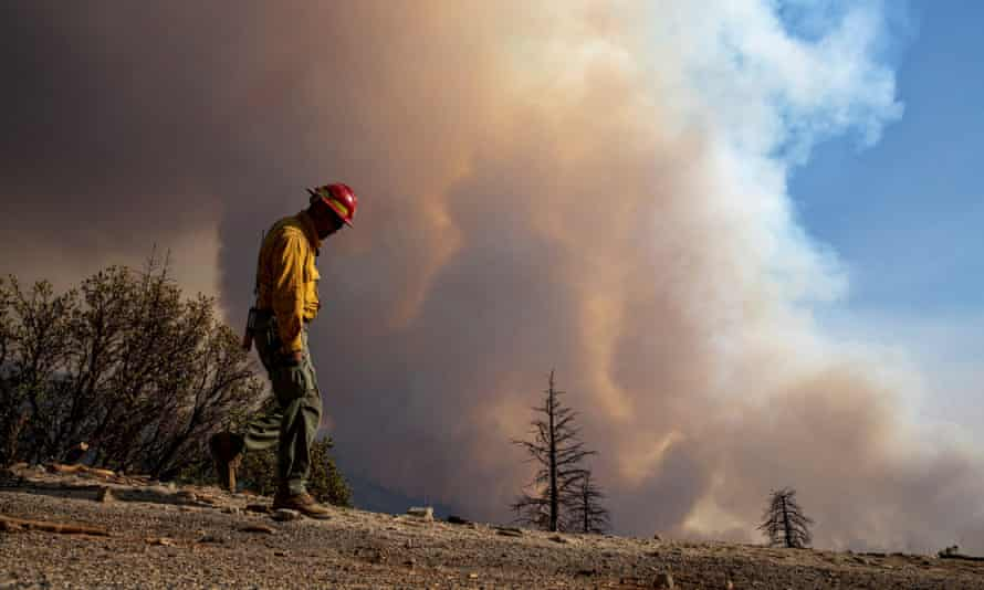 A fire crew member keeps an eye on a hillside as flames roil the Sequoia national forest on 16 September.
