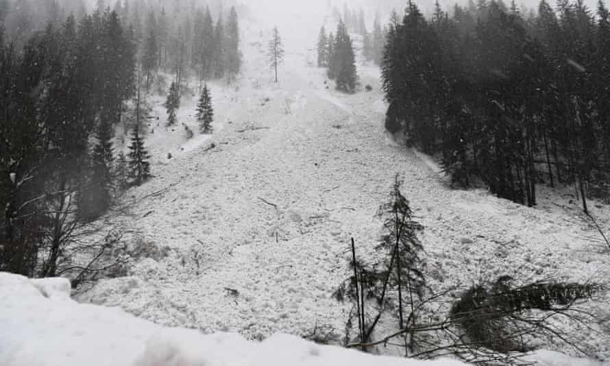 The aftermath of an avalanche in Lofer in the province of Salzburg, Austria