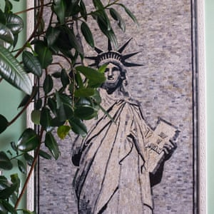 An image of the Statue of Liberty in the living room of Ruzhdi Kuçi, known as Amerikani, whose home is full of US-related decorations