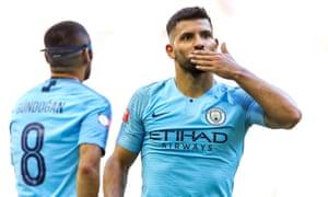 Sergio Aguero of Manchester City celebrates