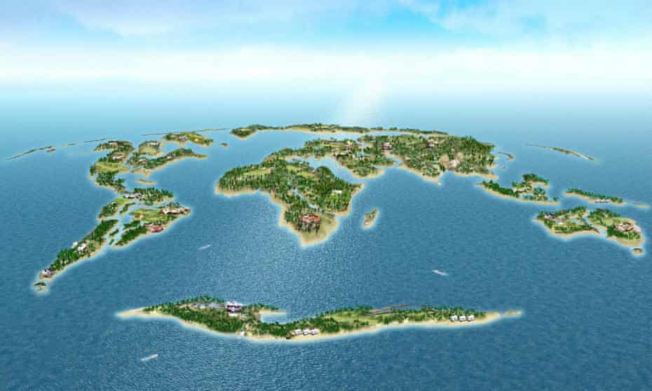 A CGI view of The World in Dubai - 300 islands shaped like a world map.