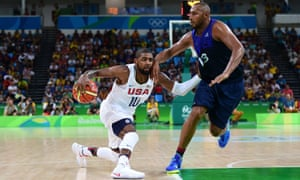 Kyrie Irving moves the ball against Boris Diaw.
