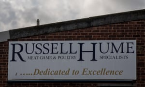 Sign for the meat supplier Russell Hume