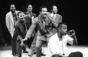Kenny Andrews, Clarke Peters, Omar Okai, Peter Alex Newton, Paul J Medford and Dig Wayne in Five Guys Named Moe at Theatre Royal Stratford, 1990.