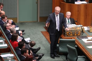 The Prime minister Scott Morrison during question time
