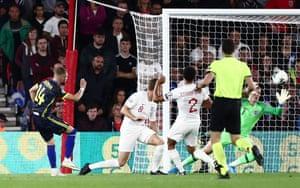 Berisha scores Kosovo's second goal.