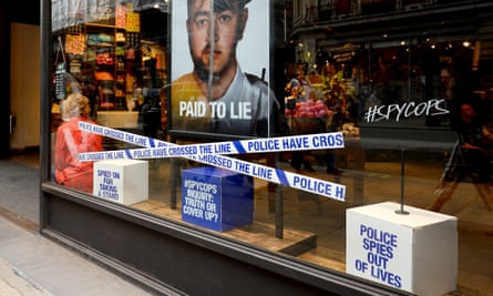 The Lush store on Oxford Street, London, with the #spycops campaign on display.