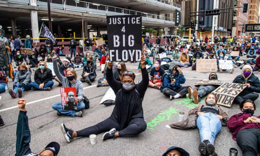 A protest outside the Hennepin county justice center in Minneapolis, where Derek Chauvin and the other officers appeared on Friday.
