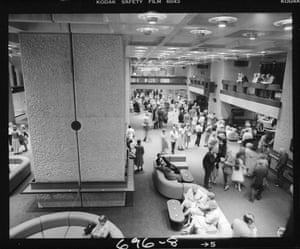 Visitors relax on sofas in the Foyers as they wait for the acoustic test to begin (Jul 1981)