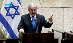 Screengrab from Reuters vision of Benjamin Netanyahu vowing to return to power after losing the Israeli election.
