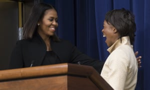 Michelle Obama greets Margot Lee Shetterly, author of the book that the movie Hidden Figures is based on.