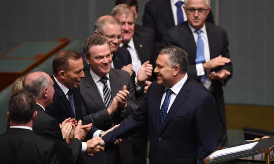 Joe Hockey is congratulated by his colleagues after his 2015 budget speech.
