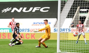 Joelinton of Newcastle United scores his teams third goal.