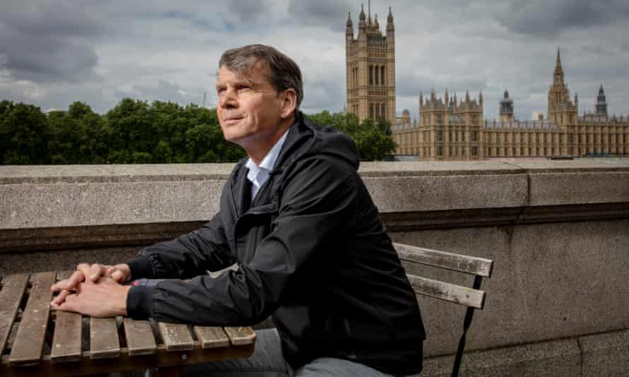 Edward Daffarn sits opposite the House of Commons