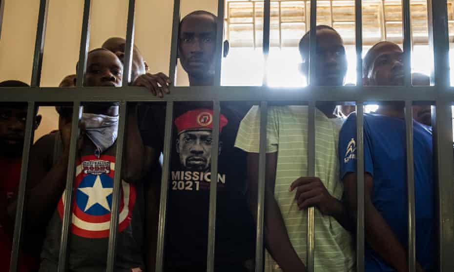 Defendants including Ali Bukeni, Daniel Brenny Oyerwot, Eddy Ssebuufu at a bail hearing.
