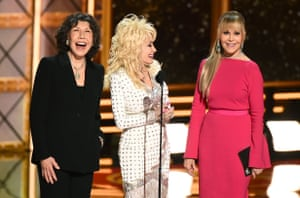 Stars of 9 to 5, Lily Tomlin, Dolly Parton and Jane Fonda