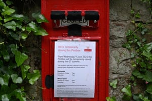 A notice advises that a postbox is temporarily closed ahead of the summit