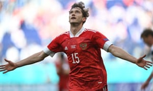 Russia's Aleksey Miranchuk celebrates after scoring the opening goal of the game.
