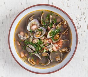 Salty and clean-tasting: bean and clam broth.