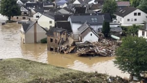 An aerial photo shows the district of Altenburg, Germany, which was flooded by the Ahr River. People have died and dozens of people are missing in Germany after heavy flooding