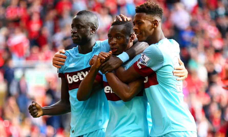 West Ham celebrate after Diafra Sakho's goal.