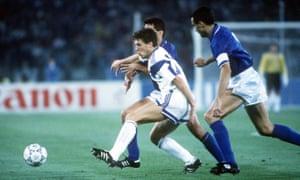 Peter Vermes is put under pressure by Italian defenders Giuseppe Bergomi and Riccardo Ferri.