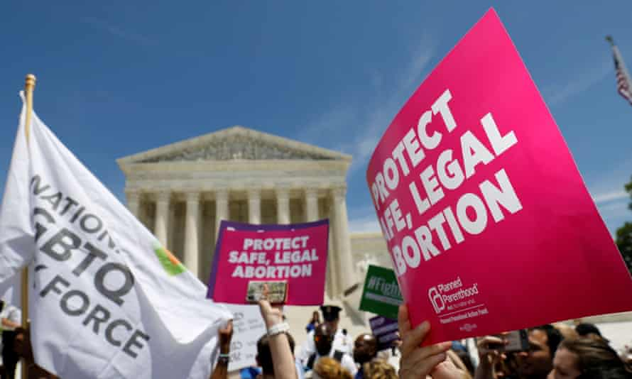 Abortion rights activists rally outside the supreme court in Washington DC, on 21 May 2019.