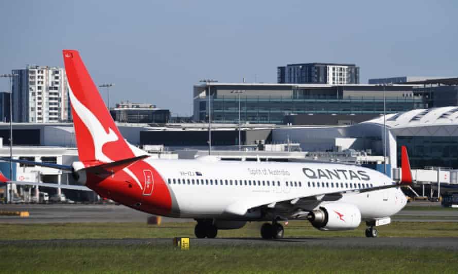 A Qantas aircraft lands at Sydney airport