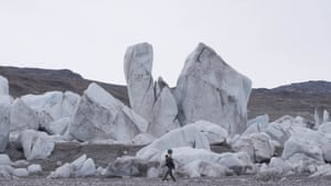 These are stranded icebergs that have broken off from a nearby glacier