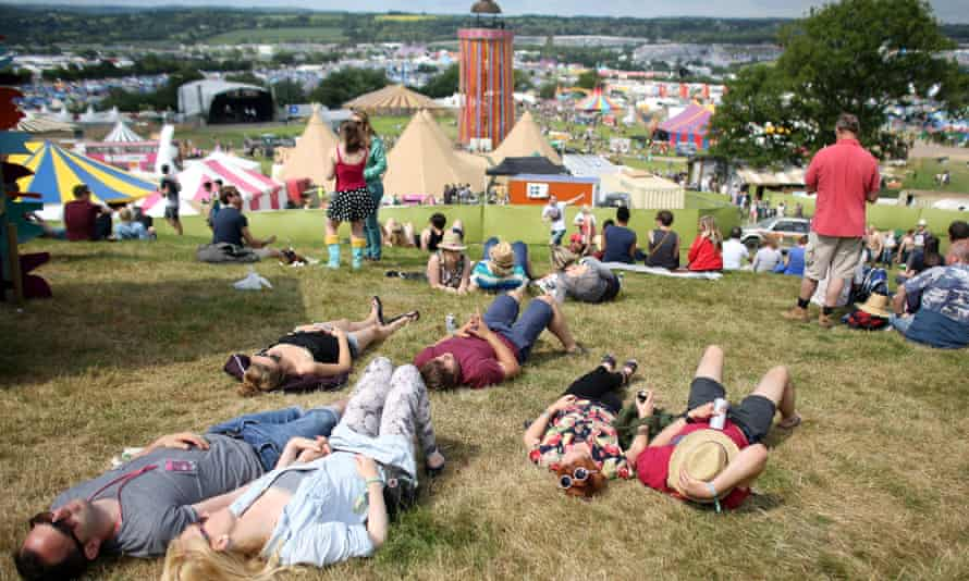 The rolling hills of Glastonbury, looking towards the Park Stage.