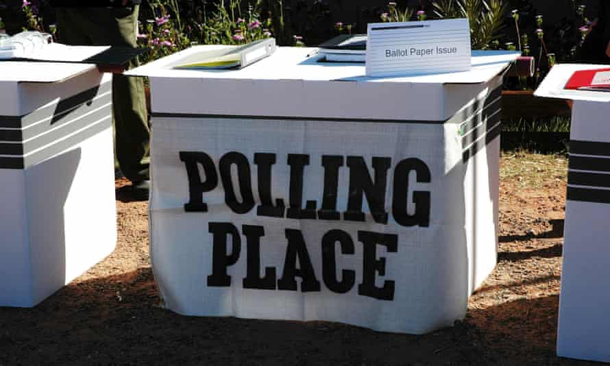A voting box in a tiny Aboriginal community near Alice Springs in the Northern Territory. Two men from Arnhem Land Pair allege the AEC's requirement for people to have a street number and postal address to be listed on the electoral role is discriminatory.
