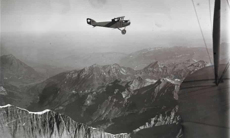 Walter Mittelholzer in a biplane