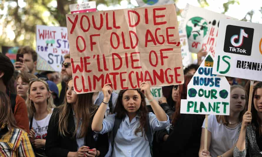 Protesters listen to then Labour leader Jeremy Corbyn address the crowd during a climate demonstration in London last September.