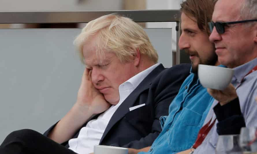 Outfielder with nothing to declare? Boris Johnson sleeps at the Oval in London on Saturday on day two of the England v India fifth test.