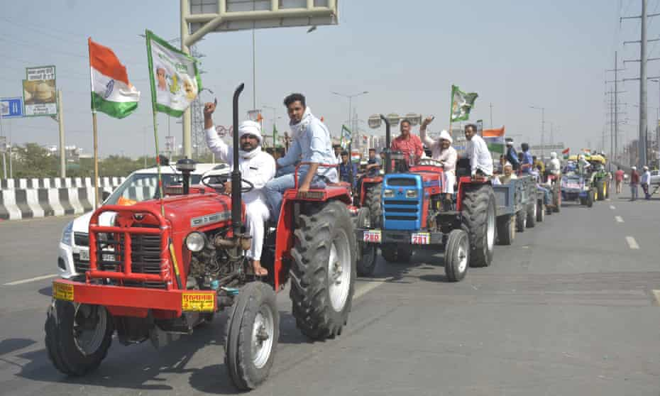 A farmers protest in Ghaziabad, India, 27 February 2021