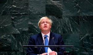 The prime minister, Boris Johnson, at the United Nations general assembly in New York.
