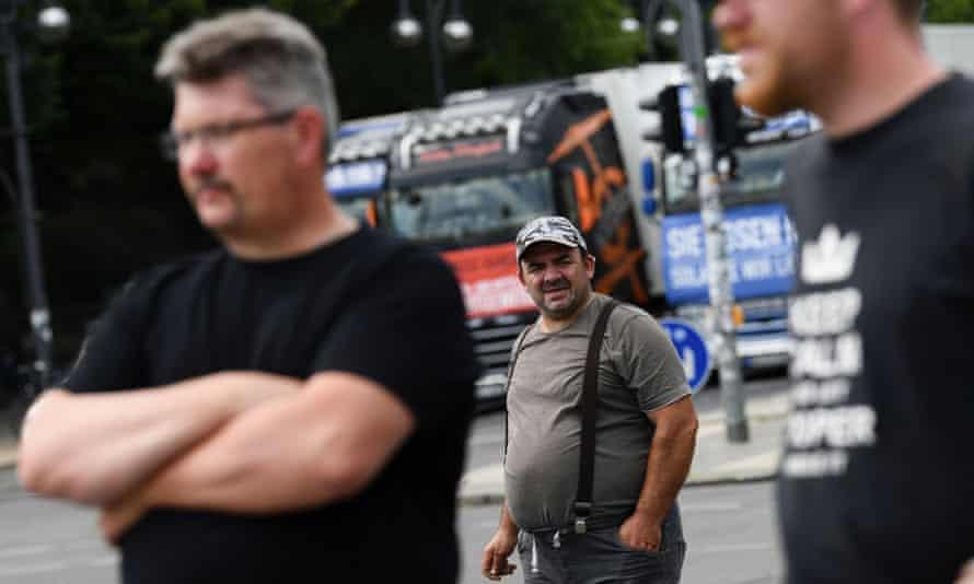German truck drivers protest against coronavirus lockdown measures