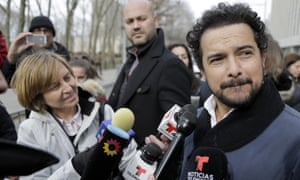 Alejandro Edda talks to reporters outside court