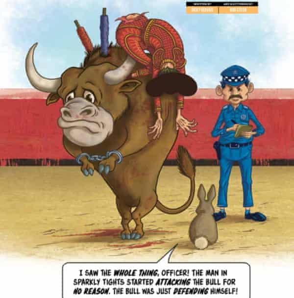 Ricky Gervais's comic takes aim at the custom of bullfighting.