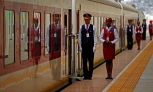 Chinese and local staff during the inauguration of the new train line linking Addis Ababa to the Red Sea state of Djibouti on Wednesday.