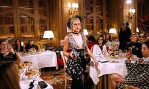 Model Alice Dellal parades in front of diners at the Chanel show at the Paris Ritz.