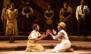 Cynthia Erivo and Joaquina Kalukango in The Color Purple on Broadway.
