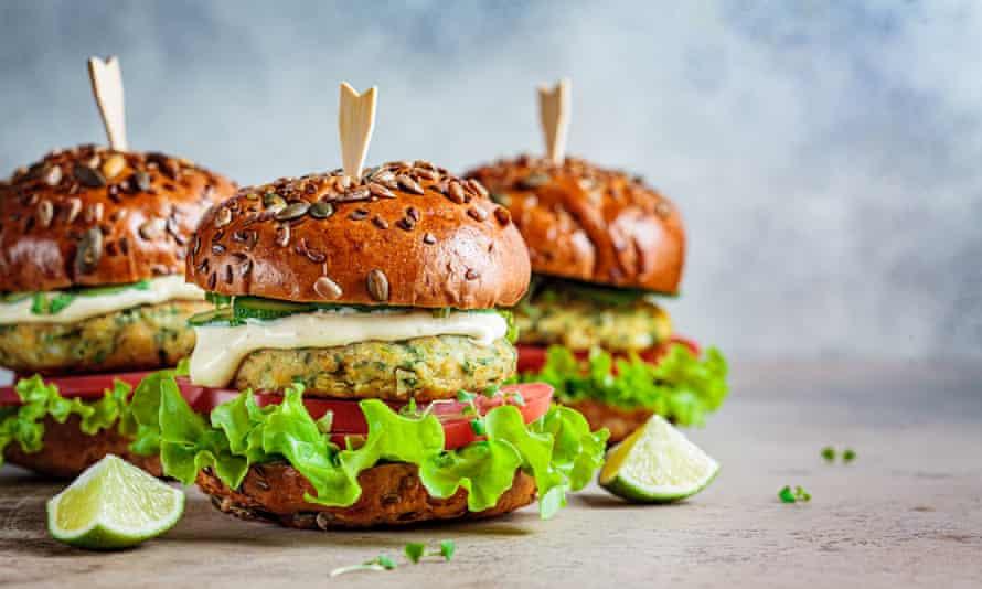 Vegan falafel burgers. Veganuary attracted 400,000 signatories last year.